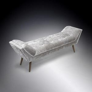 Monsoon Stylish Large Chaise In Crushed Velvet Silver_1