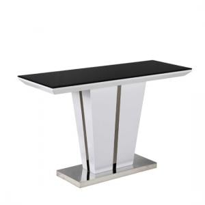 Memphis Console Table With Black Glass Top And White Gloss Base