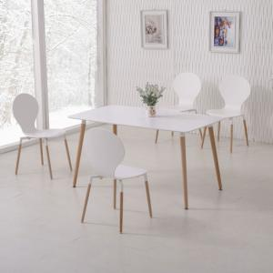 Napoli Dining Table In White Top And 6 Dining Chairs