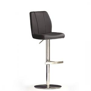 Naomi Black Bar Stool In Faux Leather With Stainless Steel Base