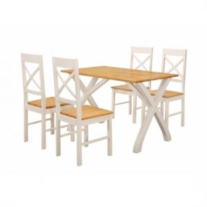 Panama Dining Table In Solid Rubber Wood With 4 Dining Chairs