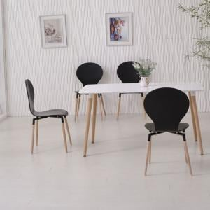 Napoli Dining Table In White Top And 6 Black Dining Chairs