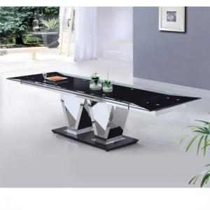 Nico Extending Glass Dining Table In Black With Metal V Base