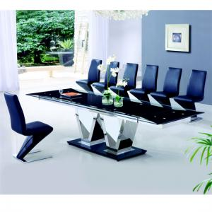 Nico Extending Glass Dining Table And 8 Z leather Chairs