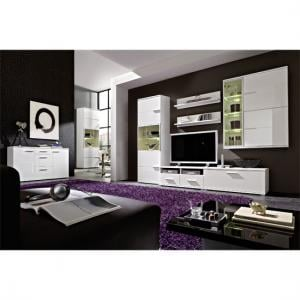Nevada Living Room Furniture Set In White Gloss