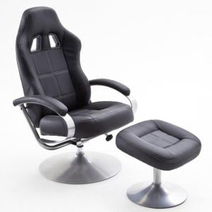 Latvia Reclining Chair In Black Faux Leather With Foot Stool