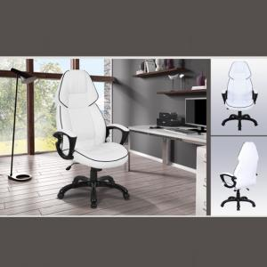 Cupric Modern Home Office Chair In White And Black Faux Leather