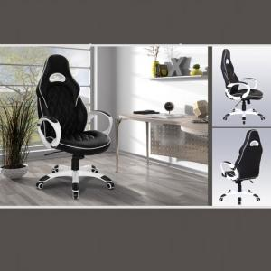 Lester Modern Home Office Chair In Black Faux Leather