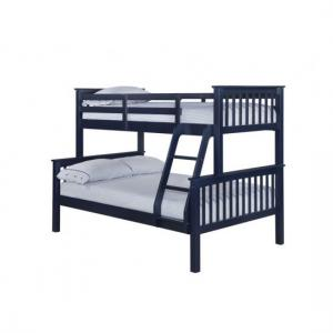 Trios Solid Navy Blue Finish Triple Sleeper Bunk Bed
