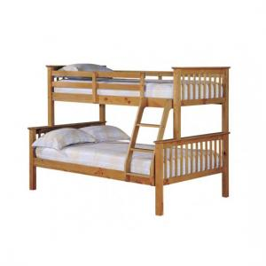 Trios Antique Wax Pine Finish Triple Sleeper Bunk Bed