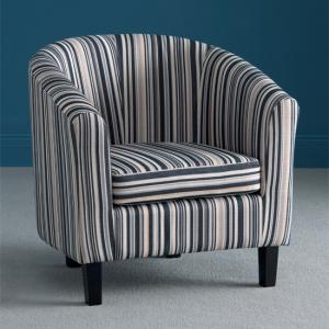 Oxford Stripe Fabric Tub Chair