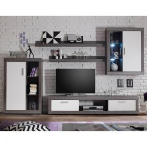 Essen Living Room Set 2 In Smoke Silver White Fronts With LED_2