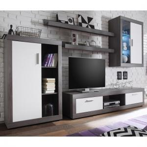 Essen Living Room Set 2 In Smoke Silver White Fronts With LED_1