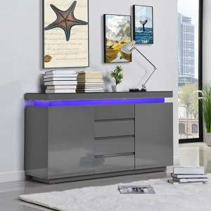 Odessa Sideboard 4 Drawer In High Gloss Grey With LED Lights