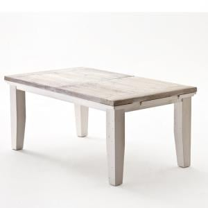 Opal Extentable Dining Table In White Pine Farmhouse Style