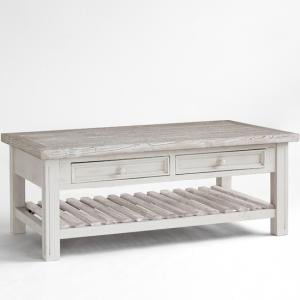 Opal  Coffee Table In White Pine Farmhouse Style