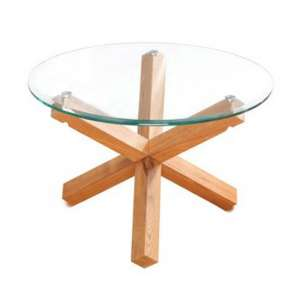 Optro Solid Oak Finish Clear Glass Top Coffee Table