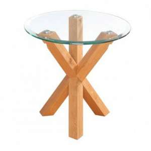 Optro Solid Oak Finish Clear Glass Top End Table