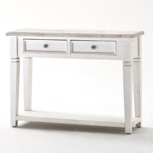 Opal Console Table In White Pine With 2 Drawers