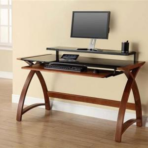 Cohen Curve Computer Desk Large In Black Glass Top And Walnut