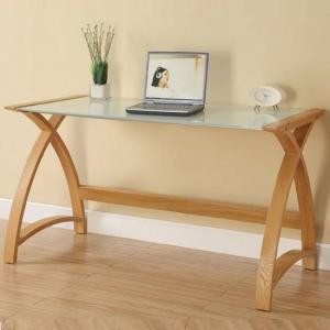 Cohen Curve Laptop Table Large In Milk White Glass Top And Oak