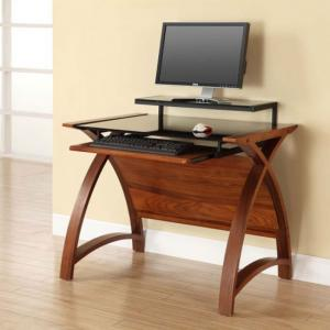 Cohen Curve Computer Desk Small In Black Glass Top And Walnut
