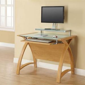 Cohen Curve Computer Desk Small In Milk White Glass Top And Oak