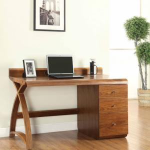 Juoly Single Pedestal Computer Desk In Walnut With 3 Drawer