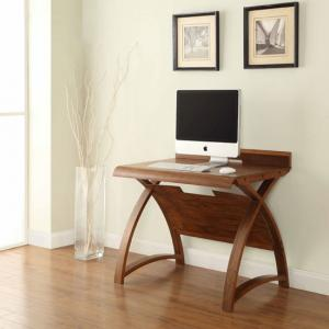 Juoly Small Computer Desk Curve Shape In Walnut