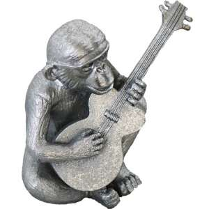 Monkey With Guitar Sculpture In Silver Finish