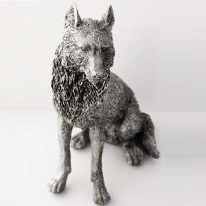 Sitting Wolf Sculpture