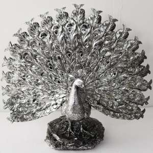 Peacock Sculpture In Silver Finish