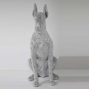 Sitting Dog Sculpture In Silver Finish