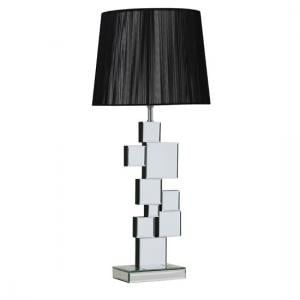 Carlos Table Lamp In Black With Mirrored Base