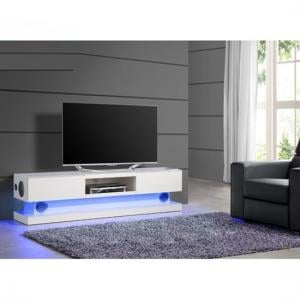 Royal White High Gloss Finish Plasma TV Stand With LED Light