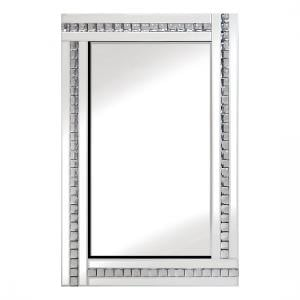 Daisy Wall Mirror Large In White With Acrylic Crystals Décor