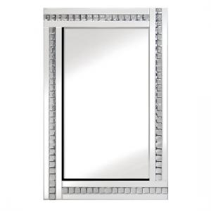 Daisy Wall Mirror Square In White With Acrylic Crystals