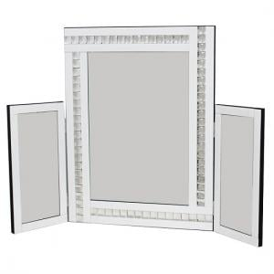 Elena Dressing Table Mirror In White With Acrylic Crystal Detail