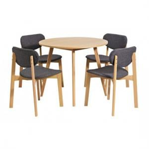 Portbel Beech Finish Round Shape Dining Table And 4 Dining Chair