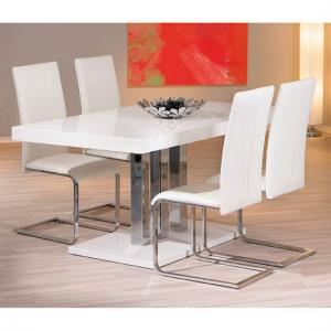 Palazio Gloss White Dining Table And 6 Montana Chairs
