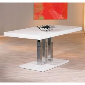 Palzo Wooden Dining Table In White High Gloss With Chrome Base