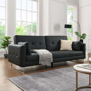 Paris Faux Leather 3 Seater Sofa Bed In Black