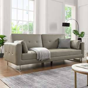 Paris Faux Leather 3 Seater Sofa Bed In Grey