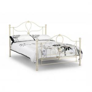 Vanice Metal King Size Bed In Stone White Finish