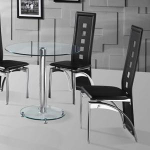 Kristof Glass Dining Table And 2 Black Miller Chairs