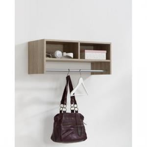 Pineto Wall Mounted Coat Rack In Oak With Rail And 2 Compartment