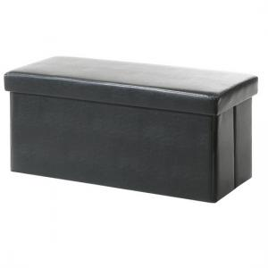 Rosa Ottoman Storage Bench And Blanket Box In Black Faux Leather