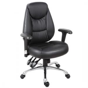 Harper Home Office Chair In Black Faux Leather With Steel Base