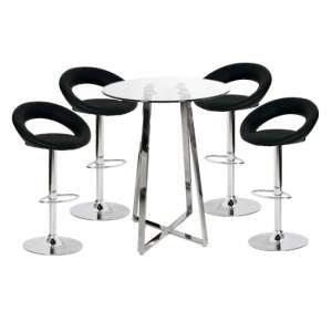 Poseur Glass Top Bar Table with 4 Leoni Black Bar Stools