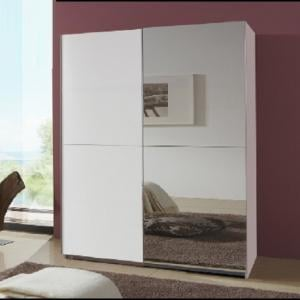 Quest White Robe 2 Door Sliding Wardrobe With 1 Mirrored Door